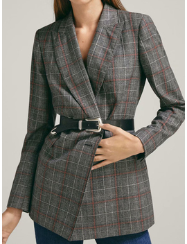 Gray Plaid Lapel Pocket Detail Long Sleeve Chic Women Blazer by Choies