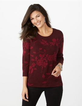 Floral Jacquard Sweater by Dressbarn