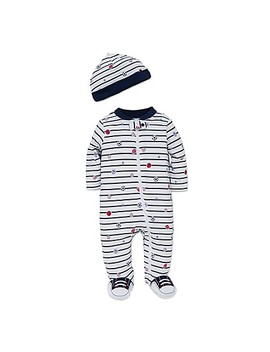 Little Me® 2 Piece Striped Sports Star Footie And Hat Set In White by Bed Bath & Beyond