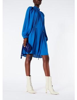 Viscose Georgette Short Drawstring Dress by Tibi