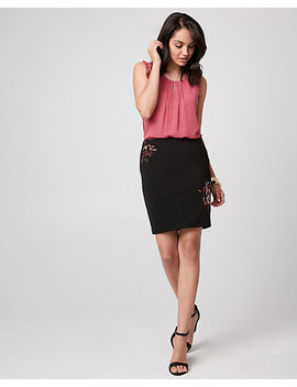 Embroidered Knit Crêpe Pencil Skirt by Le Chateau
