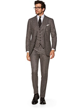Havana Brown Check Suit by Suitsupply