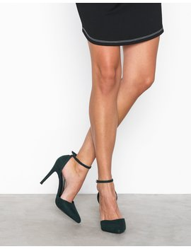 Suedette Ankle Strap Pointed Courts by New Look