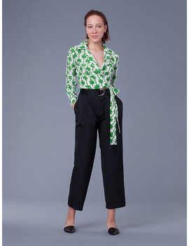 Pleat Front Tapered Cotton Pants by Dvf