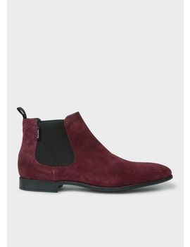 Men's Bordeaux Suede 'falconer' Chelsea Boots by Paul Smith