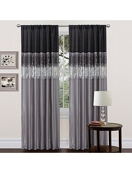 Lush Décor Night Sky 84 Inch Rod Pocket Window Curtain Panel In Black/Grey by Bed Bath And Beyond