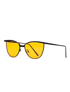 Yellow Lens Metal Frame Cat Eye  Sunglasses by Choies