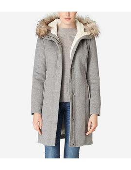 Striccato Wool Hooded Parka by Cole Haan
