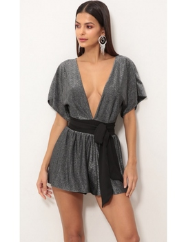 Feeling The Night Romper In Silver by Lucy In The Sky