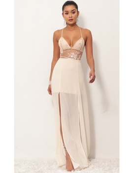 Loveable Lace Maxi Dress In Champagne by Lucy In The Sky