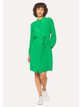 Women's Green Silk Henley Shirt Dress by Paul Smith