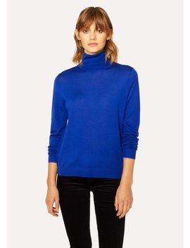 Women's Cobalt Blue Wool Roll Neck Sweater by Paul Smith
