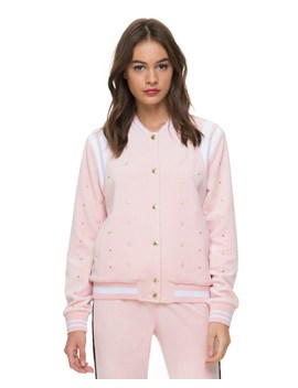 Velour Faux Pearl Embellished Bomber Jacket by Juicy Couture