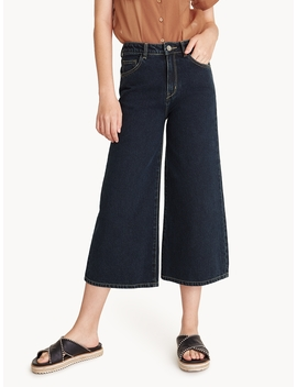 Culotte Dark Denim Jeans   Navy by Pomelo