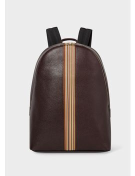 Men's Dark Burgundy Leather Signature Stripe Backpack by Paul Smith