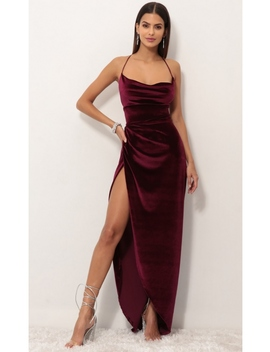 Velvet Luxe Maxi Dress In Wine by Lucy In The Sky