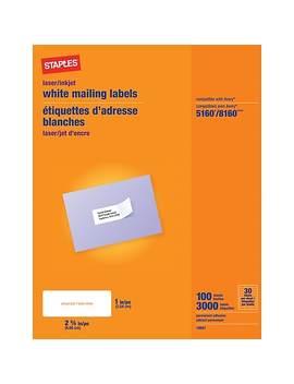 """Staples® White Inkjet/Laser Address Labels, 1"""" X 2 5/8"""", 3,000/Box by Staples"""