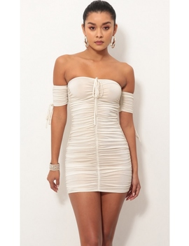 Lara Ruched Dress In White Gold by Lucy In The Sky