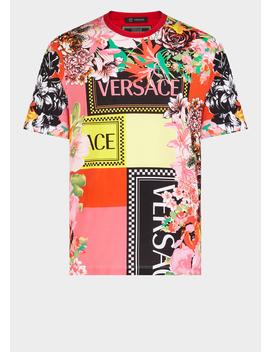Men's Floralmania Print T Shirt by Versace