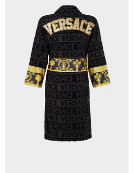 Embroidered Logo Baroque Bathrobe by Versace