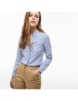 Camicia Slim Fit In Popeline Di Cotone Stretch A Righe by Lacoste
