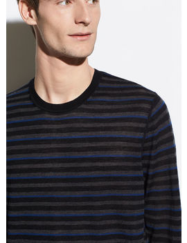 Striped Crinkle Wool Crew by Vince