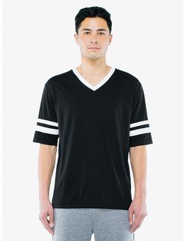 50/50 Football V Neck T Shirt by American Apparel
