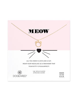 Meow Cat Charm Necklace, Gold Dipped by Dogeared