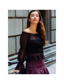 Hollows Sheer Gathered Top In Burgundy Print by Wet Seal