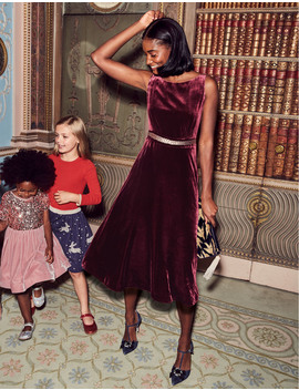 Thomasina Velvet Midi Dress by Boden