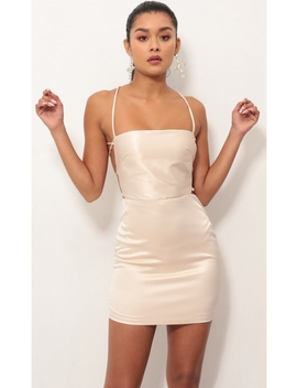 Lulu Satin Lace Up Dress In Champagne by Lucy In The Sky