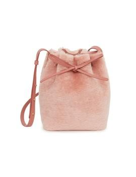 Shearling Mini Bucket Bag In Blush by Shop Bazaar
