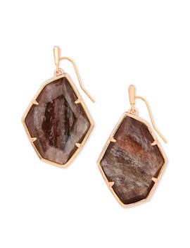 Dunn Rose Gold Drop Earrings In Sable Mica by Kendra Scott