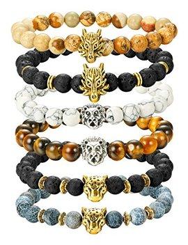 finrezio-6pcs-mens-bead-bracelets-set-dragon_lion_panther-charm-lava-rock-natural-stone-bracelet,-8mm by finrezio