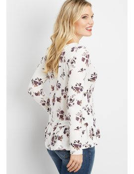 Floral Long Sleeve Peplum Tee by Maurices