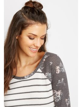 24/7 Thermal Floral Stripe Baseball Tee by Maurices