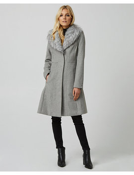 Wool Blend Faux Fur Collar Fit & Flare Coat by Le Chateau