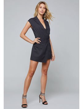 Pinstripe Shorts Mini Dress by Bebe