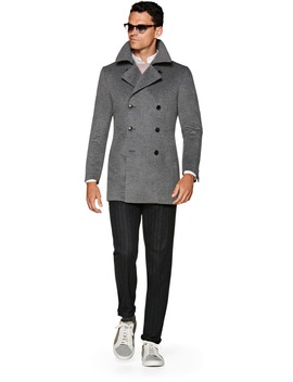 Mid Grey Double Breasted Coat by Suitsupply