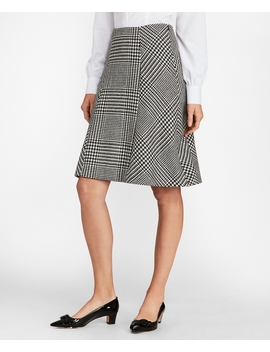 Glen Plaid Wool Twill A Line Skirt by Brooks Brothers