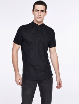 Jacquard Polo Shirt With Mandarin Collar by Castro