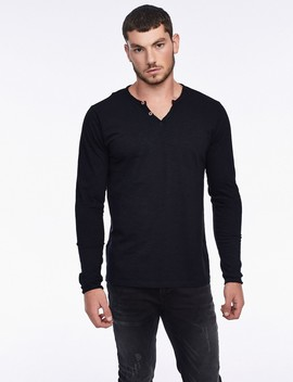 V Neck T Shirt With Buttons by Castro