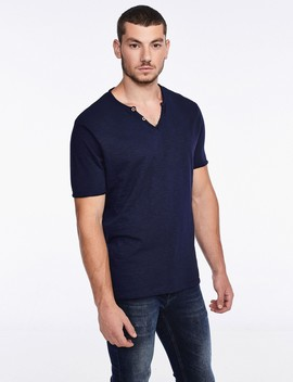 Button Down T Shirt With A V Neckline by Castro