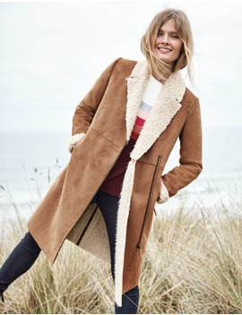 Faux Shearling Coat by Boden