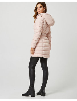 Belted Puffer Coat With Faux Fur Hood by Le Chateau
