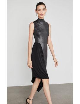 Draped Metallic Turtleneck Dress by Bcbgmaxazria