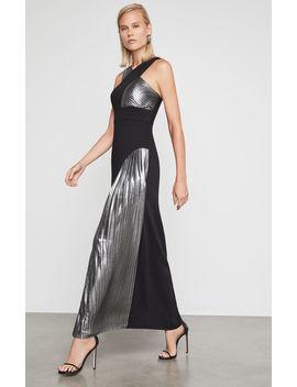Pleated Metallic Halter Gown by Bcbgmaxazria