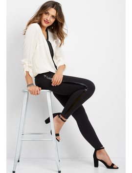 Ponte Side Stripe Skinny Ankle Pant by Maurices