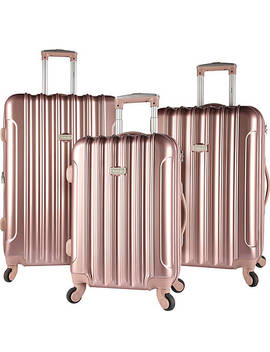 Alma 3 Piece Metallic Expandable Hard Side Spinner Luggage Set by Kensie Luggage