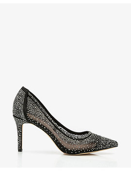Jewel Embellished Mesh Pointy Toe Pump by Le Chateau